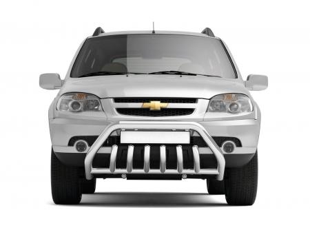 """Защита переднего бампера с защитой картера """"Люкс"""" ?63/51мм Chevrolet Niva FL (нерж)"""